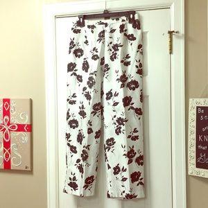 Pants - Silky floral formal flowy black & white dress pant